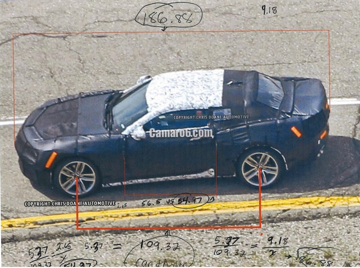 Early Speculative 2016 Camaro Size / Length Measurements