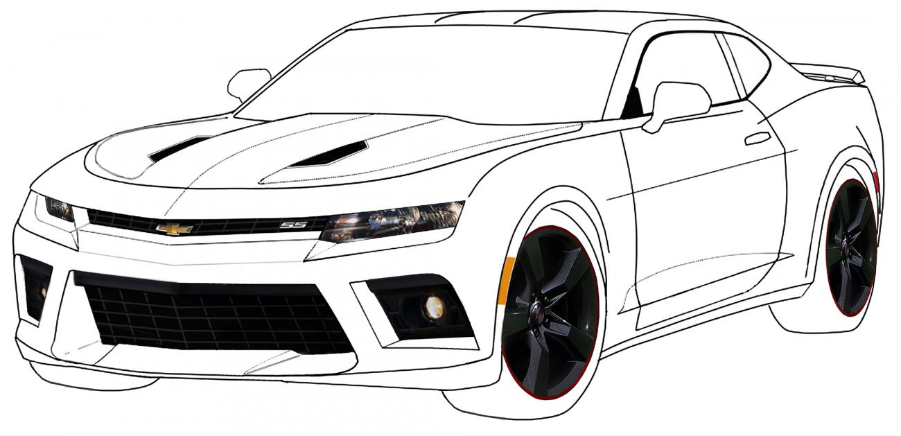 Attempt at de-camoing 6th gen Camaro (outline sketch