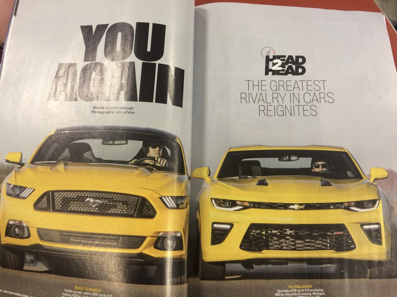 Motor Trend Head To Head 2016 Camaro And Mustang: motor trend head 2 head
