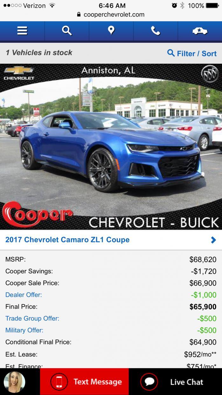 Blue A10 Zl1 In Anniston Alabama Cooper Chevrolet Camaro6