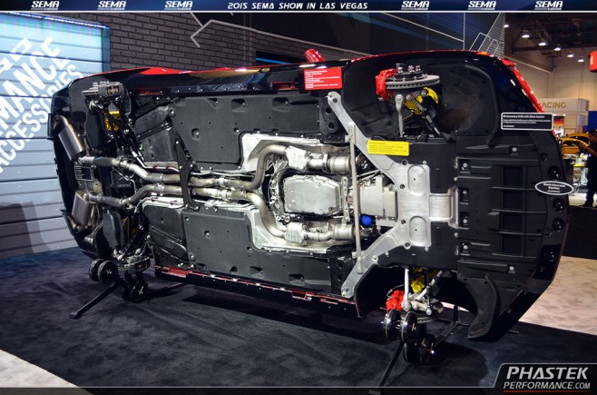 2015 SEMA Show – GM Booth – 2016 Camaro Chassis and Undercarriage Display – 6th gen 2016+ Camaro ...