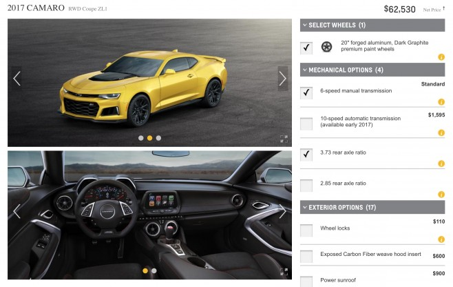 Chevy Build And Price >> 2017 Camaro Zl1 Build And Price Online Configurator Now Available At